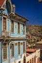 Old blue house facade in Valparaiso Royalty Free Stock Photo