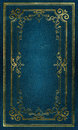 Old blue leather texture gold frame Stock Images