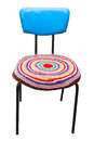 Old blue leatherette chair with handmade knit round cover isol Royalty Free Stock Photo