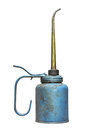 Old blue oilcan isolated and worn small metal with pump and a long spout on white Stock Image