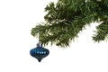 Old blue ornament on chistmas tree isolated Stock Images