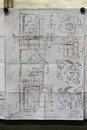 Old blue prints for industrial manufacturing Royalty Free Stock Photo