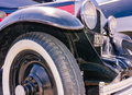 Old blue retro hot-rod reflections Royalty Free Stock Photo