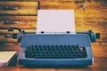Old blue retro typewriter