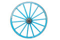 An old blue wagon wheel isolated on white background Royalty Free Stock Image