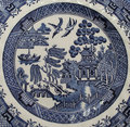 Old Blue Willow China Pattern Plate Royalty Free Stock Photo