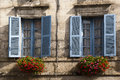 Old blue windows Brantome France Royalty Free Stock Photo