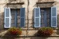 Old Blue Windows Brantome France