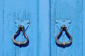 Old blue wooden door Royalty Free Stock Photo