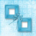 Old blue wooden frames Victorian style with bow Royalty Free Stock Photo