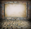 Old board on stone wall blank wooden background Stock Image