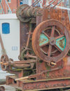 Old boat hoist an hand cranked Stock Photos