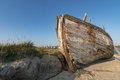 Old boat at low tide in france normandy shipwreck Stock Photography
