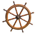 Old boat steering wheel cutout Royalty Free Stock Photo