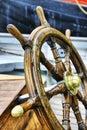 Old boat steering wheel Royalty Free Stock Photo