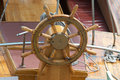 Old boat steering wheel wooden on the Stock Image