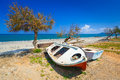 Old boats at Maleme beach on Crete Royalty Free Stock Photo