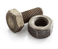 Old bolt and nut Royalty Free Stock Photo