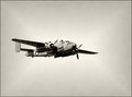 Old bomber in flight Royalty Free Stock Photo