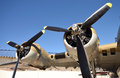Old bomber wing world war ii era and propellers Royalty Free Stock Photos