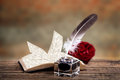 Old book feather pen and inkwell with a rose ink bottle on rustic background Stock Photo