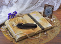 Old book handwriting picture metal frame Royalty Free Stock Photography