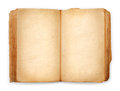 Old book open blank pages, empty yellow paper Royalty Free Stock Photo