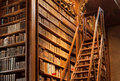 Old bookcase with the leather-bound book covers in the library of Vienna Royalty Free Stock Photo