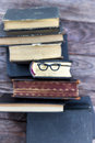 Old books and bookmark glasses Royalty Free Stock Photo