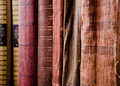 Old books covers close up Royalty Free Stock Photo