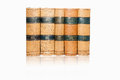 Old books five placed in a row on white background Royalty Free Stock Photography