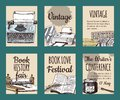 Old books with ink quill feather pen and inkwell set of cards or banners vector illustration. Vintage or antique writing