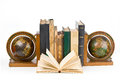 Old books in a row isolated on white background with clipping path Royalty Free Stock Photo