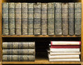 Old books on shelf french encyclopedia Royalty Free Stock Photos