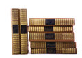 Old books in stack on white Royalty Free Stock Photos