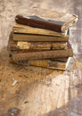 Old books on wooden background Stock Photography