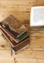Old books on wooden background Stock Image