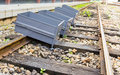 Old box on a railway image of Stock Image