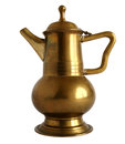 Old brass coffee pot fashioned handle coffeepot isolated on white background Royalty Free Stock Photo