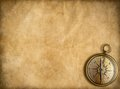 Old brass or golden compass with vintage map Royalty Free Stock Photo