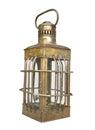 Old brass oil lantern isolated.