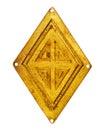 Old brass rhombus Royalty Free Stock Photo