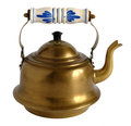 Old brass teapot with porcelain handle fashioned copper isolated on white background Stock Photos