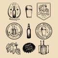Old brewery logos set. Kraft beer retro signs with hand sketched glass, barrel etc. Vector vintage homebrewing badges. Royalty Free Stock Photo