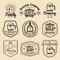 Old brewery logos set. Kraft beer retro signs or icons with hand sketched glass, barrel, mug etc. Vector vintage labels. Royalty Free Stock Photo