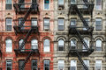Old Brick Apartment Buildings in New York City Royalty Free Stock Photo