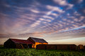 Old brick barn at sunrise Royalty Free Stock Photo