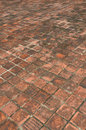 Old brick floor perspective orange antique with black humid fungus Stock Photo