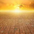 Old Brick Floor And Sunset For...