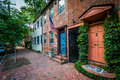 Old brick houses in the Old Town of Alexandria, Virginia. Royalty Free Stock Photo